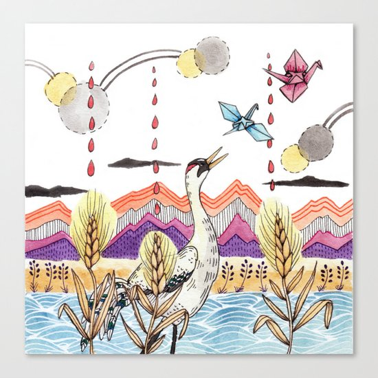Crane Gang Canvas Print