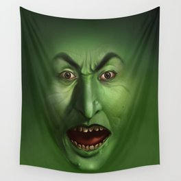 Green Witch face Wall Tapestry