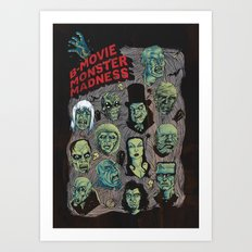 B-Movie Monster Madness Art Print