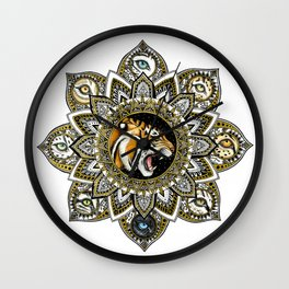 Black and Gold Roaring Tiger Mandala With 8 Cat Eyes Wall Clock