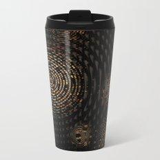 Dark and Orange Circle Weave Pattern Metal Travel Mug