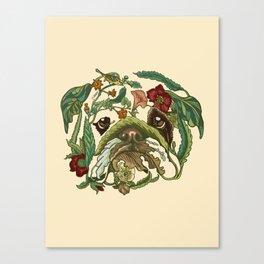 Botanical English Bulldog Canvas Print