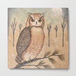 Hoot Owl by Donna Atkins Metal Print