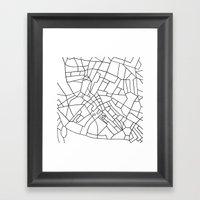 London Road Blocks White Framed Art Print