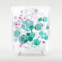 bees Shower Curtains featuring Bees by rudziox