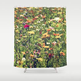 Happy summer meadow vintage style Shower Curtain