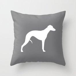 White Whippet Silhouette Throw Pillow