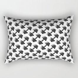 Dumbbellicious / Black and white dumbbell pattern Rectangular Pillow