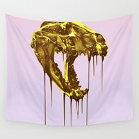 "badger Wall Tapestries featuring Painted Skull ""Badger"" Gold by LUKE FORSH∆W"