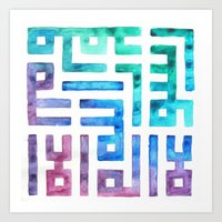 calligraphy Art Prints featuring RAINBOW CALLIGRAPHY by NomadicSoulCreations