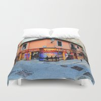 grafitti Duvet Covers featuring Grafitti on Elvira Street by Simon Ede Photography