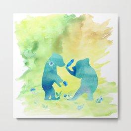Playing bear kids - Animal Watercolor illustration Metal Print