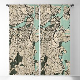Boston City Map of the United States - Vintage Blackout Curtain