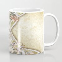 vintage floral Mugs featuring Vintage Floral by Robin Curtiss
