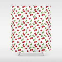 Red cherries and white background Shower Curtain