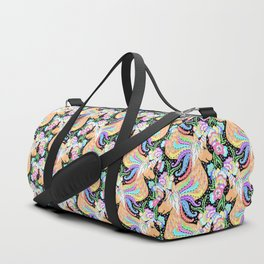 Magical Rainbow Unicorn with Spring Flower Clouds - Purple, Pink & Pastels Sparkle Pattern Illo Duffle Bag
