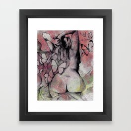 Sugar Coated Sour: Pomegranate (nude curvy pin up with butterflies) Framed Art Print
