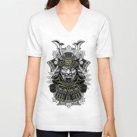 samurai V-neck T-shirts featuring Samurai by Brewer Arts
