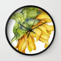 sunflower Wall Clocks featuring Sunflower by Cindy Lou Bailey