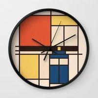 mondrian Wall Clocks featuring Mondrian Who by Perdita