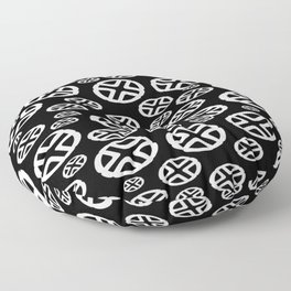 Scattered Circles - Black and White Pattern of Circles and Crosses Floor Pillow