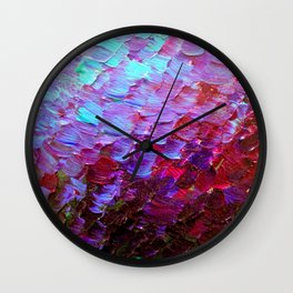 MERMAID SCALES - Colorful Ombre Abstract Acrylic Impasto Painting Violet Purple Plum Ocean Waves Art Wall Clock