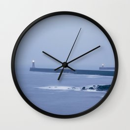 North and South Pier Lighthouse at dusk twilight. Tynemouth, Northumberland, UK. Wall Clock
