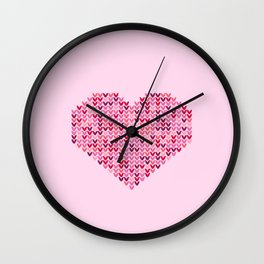 Pink Valentine's knit heart art work Wall Clock