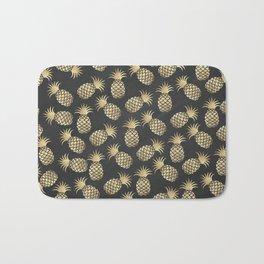 Modern chalk black elegant faux gold pineapple pattern Bath Mat