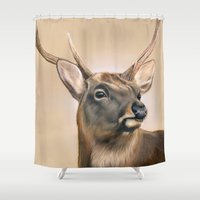 elk Shower Curtains featuring Elk by HeatherAckley