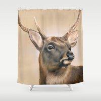 elk Shower Curtains featuring Elk by HeatherAckley