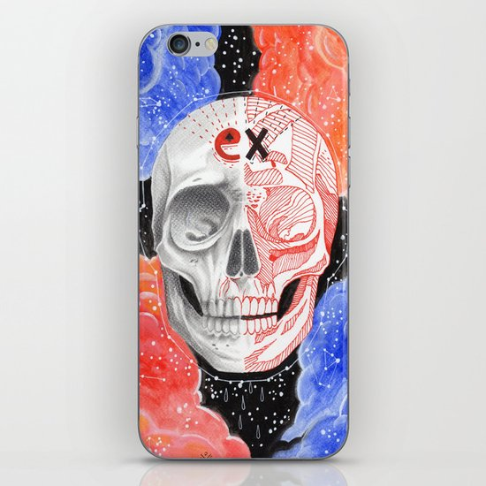 Skull in the space  iPhone & iPod Skin