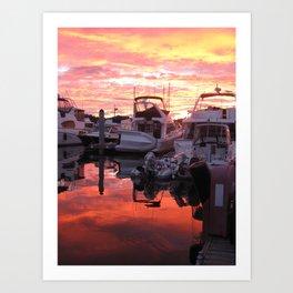 Yachts at Sunset! Art Print