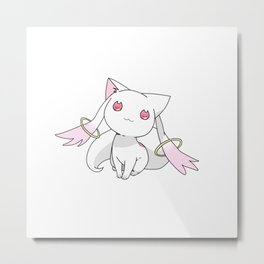 Kyubey Cat Metal Print