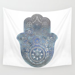 Silver Blues Hamsa Hand Wall Tapestry