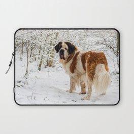 St Bernard dog in the snow Laptop Sleeve