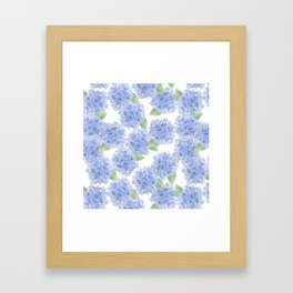 Elegant lavender lilac watercolor hydrangea floral Framed Art Print