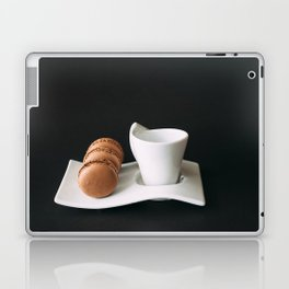 Set of cup of coffee and macaroons against black background Laptop & iPad Skin
