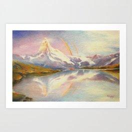 Matterhorn with Rainbow - Swiss Mountain Landscape Art Print