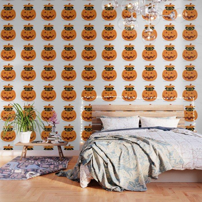 Cute Kitty Hidden Inside a Pumpkin Wallpaper