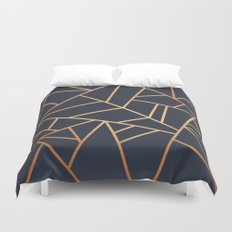 Copper and Midnight Navy Duvet Cover