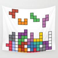 tetris Wall Tapestries featuring Tetris by Adayan