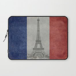 Flag of France with Eiffel Tower Laptop Sleeve