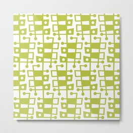 Mid Century Modern Abstract 213 Chartreuse Metal Print