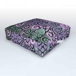 Watercolor Ornate Pattern in Purple, Pink and Green Outdoor Floor Cushion