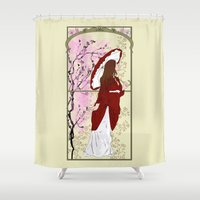 cherry blossoms Shower Curtains featuring Cherry Blossoms by Nana Leonti