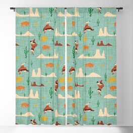 Home on the Range Blue Blackout Curtain