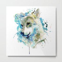 Watercolor Wolf Portrait Metal Print
