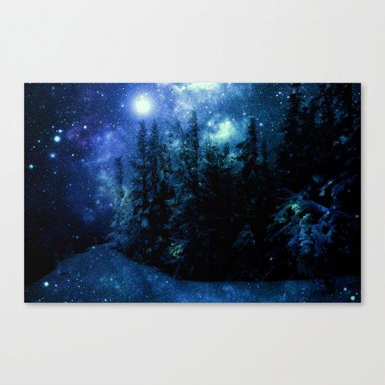 Galaxy Winter Forest Deep Blue Green Canvas Print