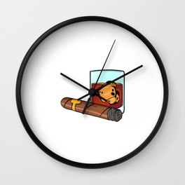 """Gotta Tap Dat Ash"" T-shirt Design Whiskey Ice Cubes Smoke Smoking Alcol Drunkard Alcoholism Alcohol Wall Clock"